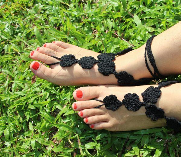 衣美姬♥歐美 氣質小花 繞腳踝款 腳上飾品 涼鞋必備 編織圖騰 舞蹈表演 多色