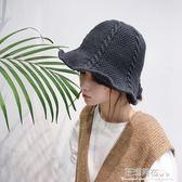 帽子女冬天保暖麻花毛線帽純色針織漁夫帽百搭韓國秋冬季盆帽禮帽·花漾美衣