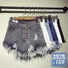 ⭐【DIFF】夏季韓版刷破高腰毛邊牛仔短褲  前短後長 女裝 牛仔褲【P65】