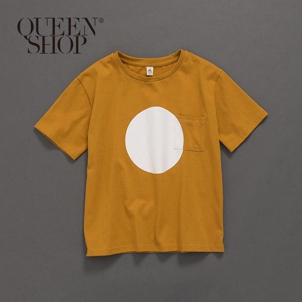 Queen Shop【01037650】極簡圓形印花單口袋短袖棉T 1/2/3/4*現+預*