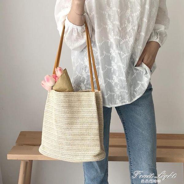 新款韓版ins女包休閒單肩包草編織包手提包chin草編包包時尚 果果輕時尚