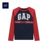 Gap男童 Logo印花旗幟插肩長袖圓領T恤 487769-織錦海軍藍