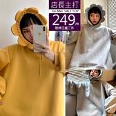 克妹Ke-Mei【AT63242】大推!可愛滿百款!立體花朵抽繩連帽刷毛T恤長袖上衣