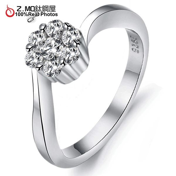 [Z-MO鈦鋼屋]鍍白金戒指/不過敏/不生鏽/求婚鑽戒/結婚禮物單只價【BKA921】
