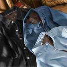日系加絨牛仔長袖襯衫男士秋冬季寬鬆休閒上衣加厚保暖純棉潮流襯衣
