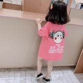 女童T恤 恤裙2020夏裝新款韓版洋氣中長款上衣兒童短袖連衣裙3歲【快速出貨】
