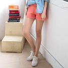 OrangeBear《BA2198》素色多彩高含棉舒適反折短褲.12色--適 2L~4L