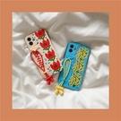 hinlucky 韓國ins花朵涂鴉掛繩適用于iPhone11蘋果12pro max手機殼xr/xsmax/7plus創意8防摔SE硅膠保護套mini