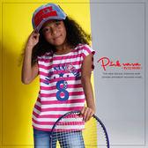 PINKNANA童裝 女童海軍風條紋純棉t恤 中大童數字印花無袖上衣33190