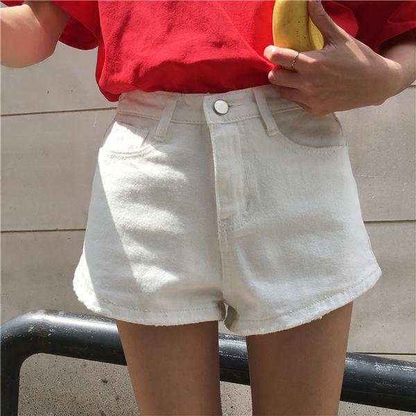 [超豐國際]夏季新款寬松百搭休閑褲子女高腰顯瘦破洞闊腿褲牛仔1入