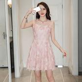 *魔法之城*L32318網紗拼接流蘇修身顯瘦無袖連衣裙