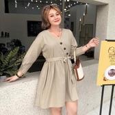 【YPRA】大碼女裝胖mm春裝法式復古裙洋氣2020新款胖妹妹收腰連身裙