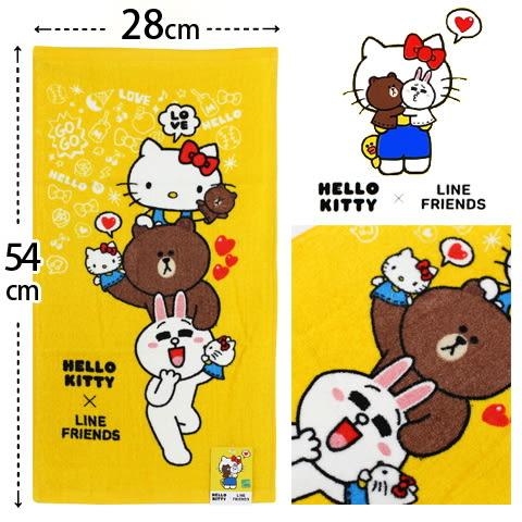 Hello Kitty x Line Friends 純棉剪絨童巾 疊疊樂款 三麗鷗 Sanrio