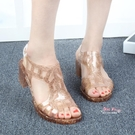 果凍跟鞋 夏季復古水晶閃片果凍鞋露趾粗跟涼鞋中跟塑料女涼鞋