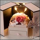 現貨 愛心燈香皂玫瑰花禮盒 雙開抽屜禮盒 (附贈提袋) 生日禮物 情人節禮物 送女友禮物 告白