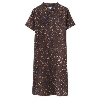 胖妹妹大碼洋裝連身裙~中式改良旗袍文藝復古寬松中長款連身裙女MB116衣時尚