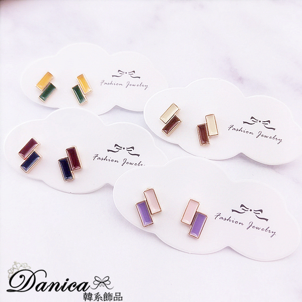 現貨不用等 韓國時尚氣質百搭糖果色撞色幾何方塊耳環 S93531 批發價 Danica 韓系飾品 韓國連線
