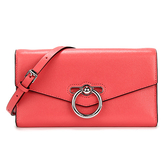 Rebecca Minkoff  JEAN質感顆粒細紋皮革長夾鍊帶斜背兩用包(柚紅色)220126-1
