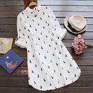 東京奈奈日系長袖兔子印圖襯衫連身裙[j01656]