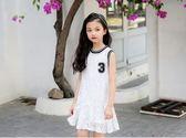 618好康鉅惠 背心連身裙新款白色荷葉邊裙子 蕾絲公主裙