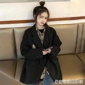 復古毛呢外套女秋冬新款長袖寬鬆學院風百搭小西裝領黑色大衣 居家物語