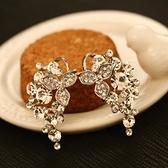 耳環 玫瑰金純銀鑲鑽-滿鑽優雅生日情人節禮物女飾品2色73ca103【時尚巴黎】