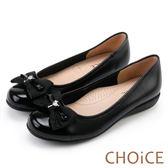 CHOiCE 舒適甜美 蝴蝶結鑽飾牛皮娃娃鞋-黑色