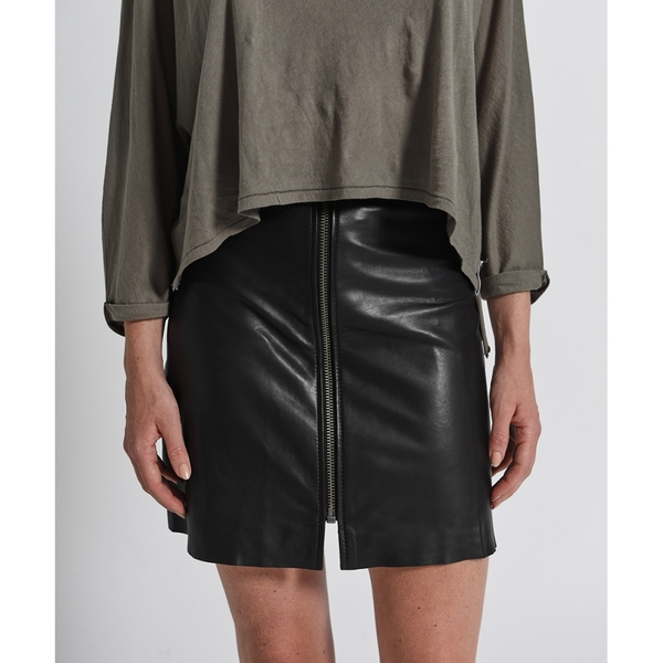 OneTeaspoon 皮裙-羊皮 LEATHER VIXEN HIGH WAIST SKIRT 女(黑)