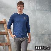 【JEEP】極簡造型百搭休閒長袖TEE (藍)