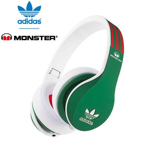美國 Monster x adidas 聯名限量版耳罩式耳機(紅綠),公司貨,附保卡,一年保固