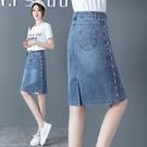 牛仔半身裙女高腰2021夏季新款中長款顯瘦a字一步包臀短裙子春秋「時尚彩紅屋」