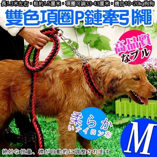 【培菓幸福寵物專營店】dyy》寵物升級版雙色項圈P鏈牽引繩-M號粗1.5cm