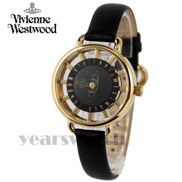 【萬年鐘錶】 Vivienne Westwood  英國 鏤空時標皮革腕錶  金色x黑  33mm  VV055BKBK