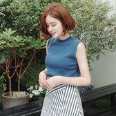 618好康又一發韓版女裝半高領無袖修身冰絲針織衫