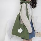 唐糖包袋 清新綠色帆布袋 單肩斜挎大容量小花文藝女包包學院風