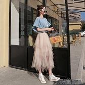 網紗半身裙女夏2021新款春季中長款超仙不規則蓬蓬蛋糕裙仙女紗裙 快速出貨