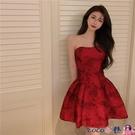 熱賣抹胸洋裝 復古紅色抹胸連身裙女夏季2021年新款裙子法式小眾名媛氣質禮服裙【618 狂歡】
