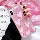 粉愛心SamSung S21手機套 日韓個性三星S21保護殼 創意Galaxy S21+保護套 流沙可愛三星S21 Ultra手機殼