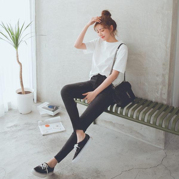 MUMU【P54810】★激彈!!新發售S-4L可穿★後腰鬆緊超彈力刷色窄管牛仔褲。深藍/黑