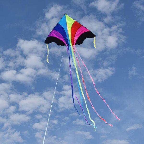 風箏 濰坊酷翔飛天彩虹風箏 大型成人微風好飛三角風箏 長尾 多彩兒童 MKS小宅女