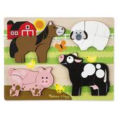 《 美國 Melissa & Doug 》 拼圖-厚塊-農場動物 / JOYBUS歡樂寶貝