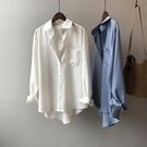 緞面襯衫 白色襯衫女設計感小眾2021春夏新款韓版chic垂感緞面天絲長袖襯衣 設計師