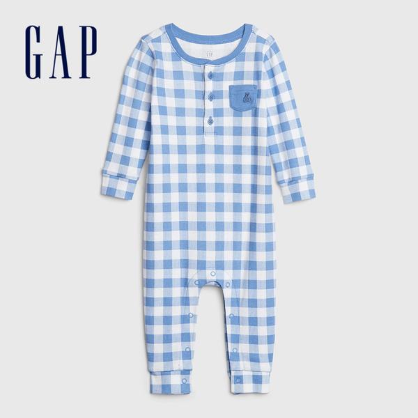 Gap嬰兒棉質格紋印花長袖連體衣546379-卡瓦納純藍