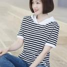 純棉2021夏裝新款短袖韓版寬鬆連帽衛衣女黑白條紋t恤女半袖 快速出貨