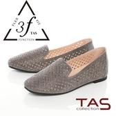 TAS羊皮燙鑽沖孔懶人鞋-低調灰
