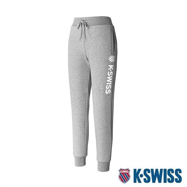 K-SWISS Branding Logo Sweat Pants保暖運動長褲-女-淺灰