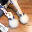 帶水鉆狐貍毛毛毛鞋網紅新款女士平底包頭外穿全包秋冬棉拖鞋