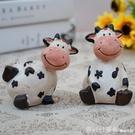 美式樹脂奶牛小擺件可愛卡通創意家居桌面裝飾品隔板格子櫃擺設 618購物節