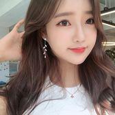 新款韓國氣質個性樹葉流蘇長款耳環網紅超仙顯臉瘦耳飾品純銀耳釘