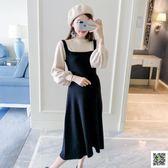 孕婦裝針織秋裝新款時尚拼色假兩件韓版長袖中長款毛衣洋裝 玫瑰女孩